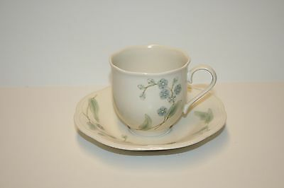 Mikasa Natures Gallery Blue Eyes Flat Cup - Saucer Set  Pattern EL002 Made 1981