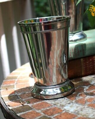 Silver Mint Julep Cup with Heavy Beaded Edge and Felt Bottom 4-75 Inches Tall