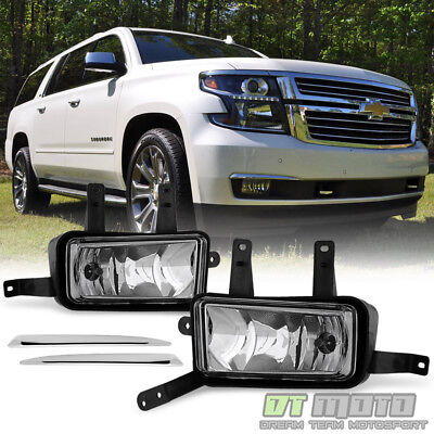2015 2016 2017 Chevy SuburbanTahoe Fog Lights Lamps wChrome Trim-Switch-Bulbs