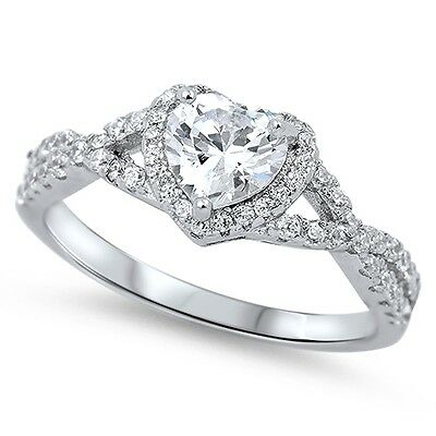 -925 Sterling Silver Heart Clear CZ Fashion Promise Ring Size 4-12 NEW