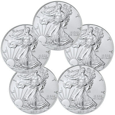2017 1 Troy oz- American Silver Eagle - Lot of 5 Coins SKU44363