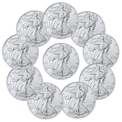 2017 1 Troy oz- American Silver Eagle - Lot of 10 Coins SKU44364