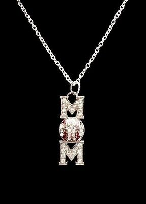 Crystal Baseball Mom Softball Mothers Day Gift Sports Charm Necklace