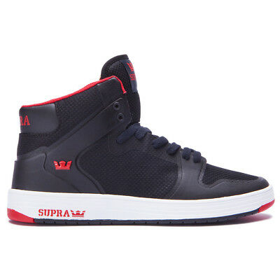 Supra Vaider 2-0 Shoes Black-Red Mens High-Top Lightweight Vulc Sneakers
