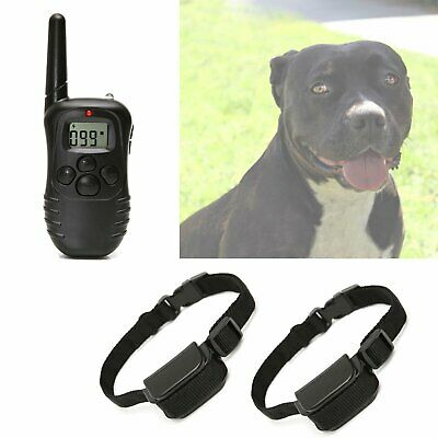 Pet Dog Training Collar Rechargeable Electric LCD 100LV Shock Two Collars