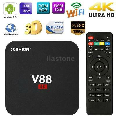 V88 4K Smart Android 6-0 TV Box RK3229 UHD Quad Core 8GB WiFi H-265 Media Player