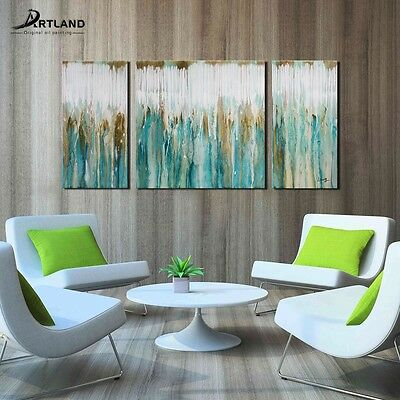 Abstract Oil Painting on Canvas Wall Art Set Hand-painted Framed Breezy Valley