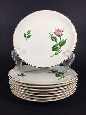 Paden City Pottery Moss Rose Bread and Butter Plates Set of 8