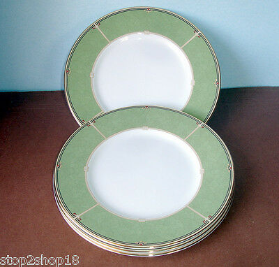 Wedgwood Oberon 4 PC- Accent Plate Set 9 Green Banded New