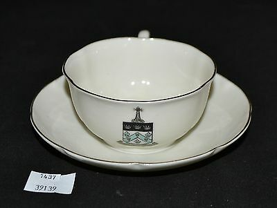 ThriftCHI  Ceramic Cup - Saucer - W-H- Goss Respice Aspice Prospice Shield