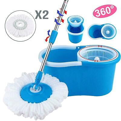 360°Rotating Head Easy Magic Floor Mop Bucket 2x Head Microfiber Spinning USA