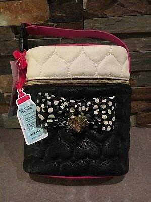 New Betsey Johnson Quilted Insulated Baby Dual Bottle Holder Black NWT 58
