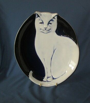Vintage Signed FLAT EARTH POTTERY Glazed Blue - White Cat Plate
