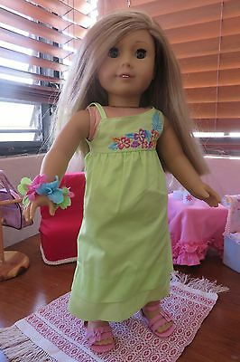 American Girl Doll Dress Hawaii inspired with sandals fits 18 inch dolls