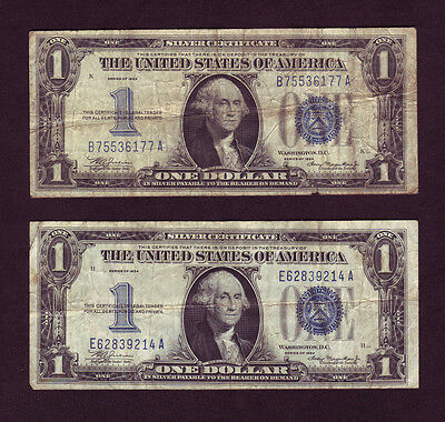 1934 Silver Certificate 1 Funny Back Dollar Bills - Lot Of 2 P797