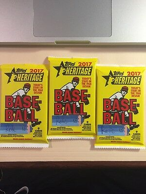 LOT OF 3 2017 HERITAGE BASEBALL GUARANTEED RELICPATCHSTAMPAUTO HOT PACK