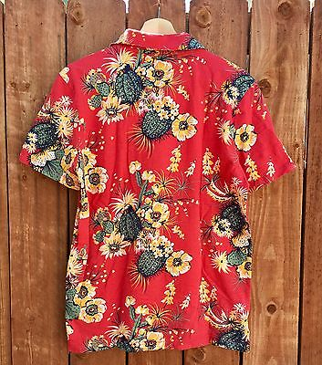 GAP Mens Lived In Red Cactus Floral 100 Cotton Short Sleeve Polo Shirt Medium