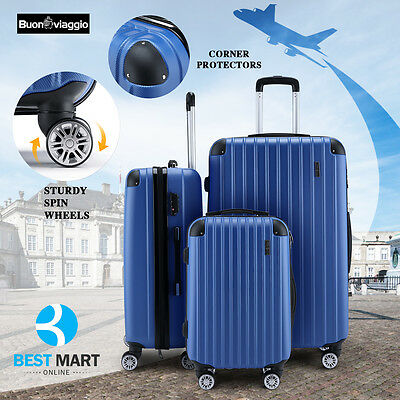 3Pcs Luggage Travel Set Bag ABS Trolley Spinner Carry On Suitcase Lock Blue