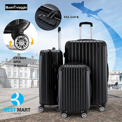 3Pcs Luggage Travel Set Bag wTSA Lock ABS Trolley Spinner Carry On Suitcase