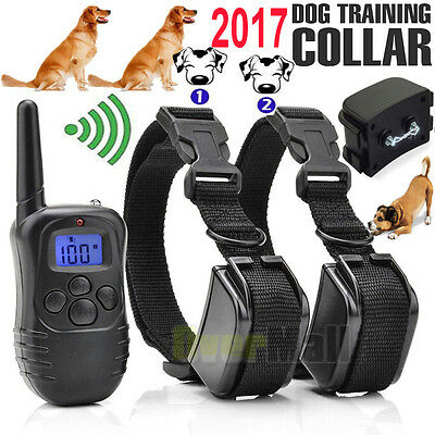 2017 Rechargeable Waterproof LCD 100LV Shock Vibrate Remote 2Dog Training Collar