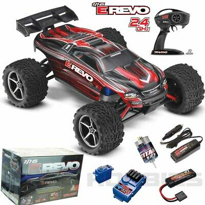 Traxxas 71054-1 E Revo 116 4WD Brushed Truck Red RTR w TQ Radio  iD Battery