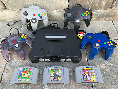 N64 Nintendo 64 Console WITH ORIGINAL CONTROLLERS - SMASH BROS MARIO KART SUPER