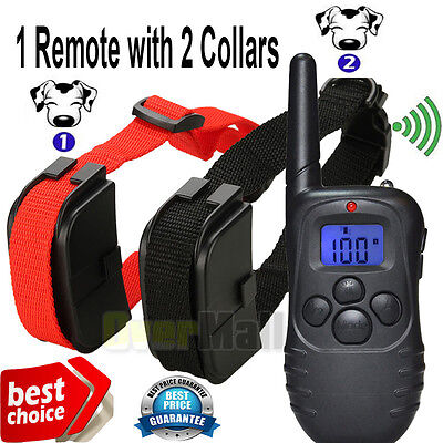 Rechargeable Waterproof Electric Shock Vibra Remote Training Collar for 2 Dogs
