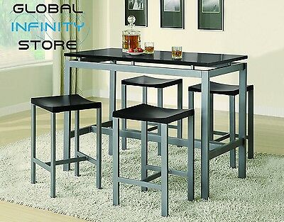 Coaster 5 Piece Metal Dining Set with 4 Barstools Silver Black Best Design New