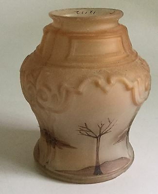 Antique Hand Painted Glass Lamp Shade Trees 2 14 Fitter