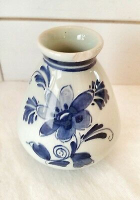 VTG Delft Pottery Blue And White Mini Vase 3 Holland Hand Painted