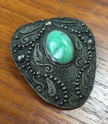 antique old CHINESE filigree JADE silver brooch