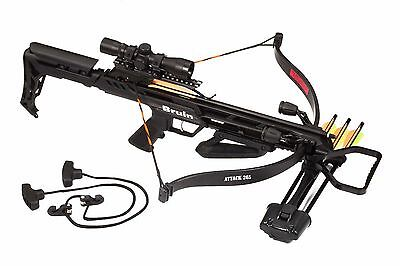 Bruin Attack 265 Recurve Crossbow Package w Scope Bolts Quiver Cocking Rope