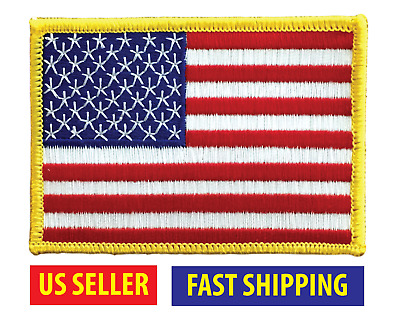 AMERICAN FLAG EMBROIDERED PATCH iron-on GOLD BORDER USA US United States