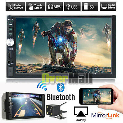 7 HD Double 2DIN Car MP5 MP3 Player Bluetooth Touch Screen Stereo Radio -Camera