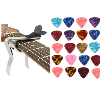 Quick Release Acoustic Electric Guitar Capo Trigger with Pick Holder - 30 Picks