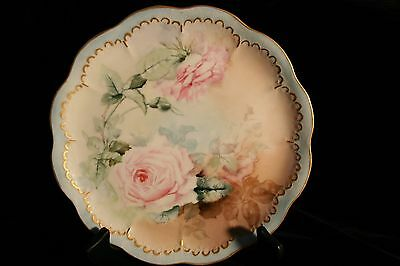 Antique or Vintage J-Pouyet Limoges  Handpainted Plate with Roses
