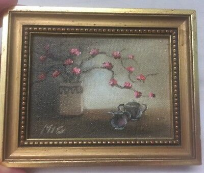 Miniature Oil On Canvas Flower - Teapot Painting Signed Mig