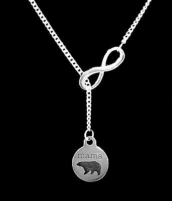 Mama Bear Mom Mothers Day Animal Wife Gift From Kids Infinity Lariat Necklace