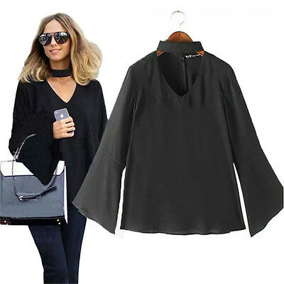 New Women V-Neck Long Sleeve Casual T-shirt Fit Top Blouse Plus size Black Sexy