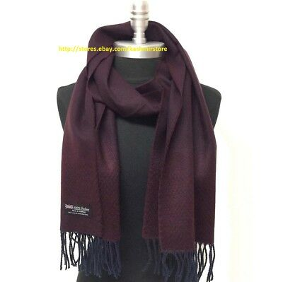 New Mens 100 CASHMERE Scarf Herring Bone Tweed Wine Navy Blue SCOTLAND Soft