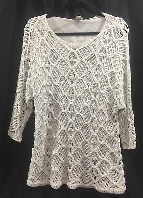 Chicos Size 2 Gray Knit Open Weave Sweater Top Shirt Blouse