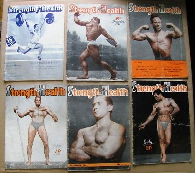 Vintage 1940s Strength and Health muscle magazines lot of 32