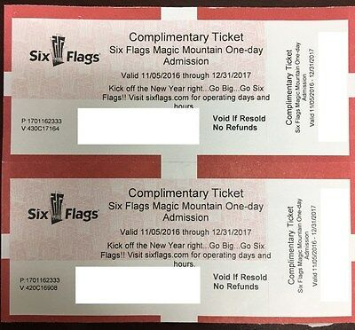 SIX FLAGS MAGIC MOUNTAIN Adult or Child admission - 2 Tickets Valencia CA-