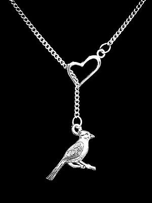 Cardinal Bird Necklace Animal Friend Mom Mothers Day Gift Heart Lariat Jewelry
