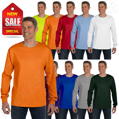 Hanes 6-1 oz Heavy Tagless 100 Cotton Long Sleeve Pocket S-XL T-Shirt R5596