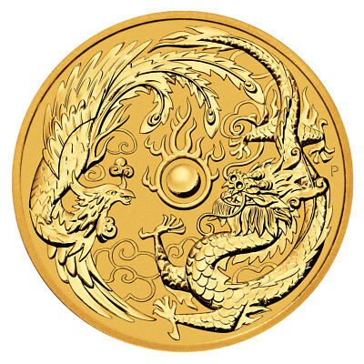 2018 Australia 1 oz Gold Dragon - Phoenix 100 Coin BU Coin SKU50369