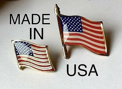 American flag Lapel Pins 2 different sizes set of 2 USA Fourth of July
