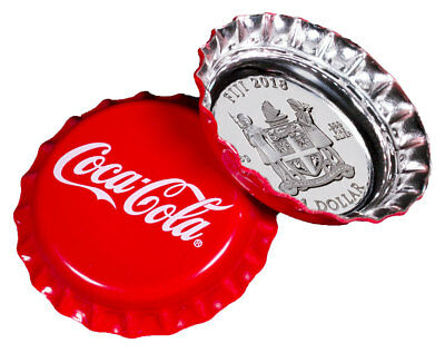 2018 Coca-Cola Bottle Cap-Shaped 6g Silver Proof 1 Coin - Box PRESALE SKU50445