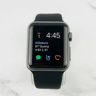 Apple Watch Gen 1 42mm Space Gray Aluminum Case Series 7000 Black Sport Band