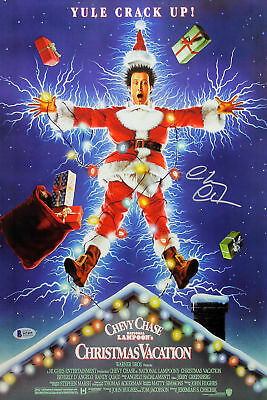 Chevy Chase Christmas Vacation Signed 12x18 Mini Movie Poster BAS Witnessed